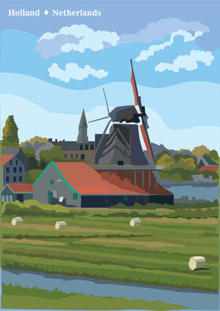 Vector Illustration of watermill in Amsterdam (Netherlands, Holland). Landmark of Holland. Watermill on the meadow.Colorful vector illustration.