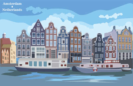 Cityscape with houses on riverbank. Canal of Amsterdam, Netherlands. Landmark of Netherlands. Colorful vector  illustration.