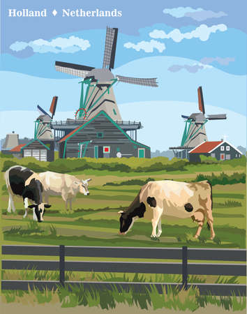 Vector bunte Illustration der Wassermühle in Amsterdam (Niederlande, Holland). Wahrzeichen von Holland. Wassermühle und Kühe, die auf der Wiese weiden lassen. Bunte Vektorillustration. Vektorgrafik