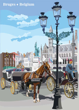 View on Grote Markt square in medieval city Bruges, Belgium. Landmark of Belgium. Horses, carriages and lanterns on market square in Bruges. Colorful vector illustration.