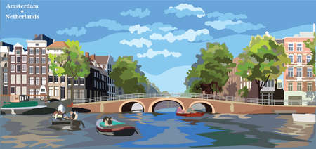 Cityscape with bridge over the canals of Amsterdam, Netherlands. Landmark of Netherlands. Colorful vector illustration.