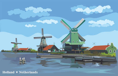 Vector Illustration of watermill in Amsterdam (Netherlands, Holland). Landmark of Holland. Watermills on the embankment.Colorful vector illustration. Ilustracja