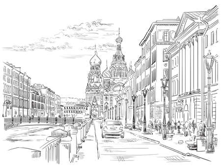Cityscape of Church of the Savior on Blood in Saint Petersburg, Russia and embankment of river. Isolated vector hand drawing illustration in black color on white background. Illustration