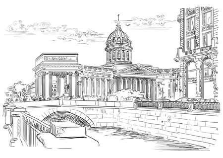 Paisaje urbano de la Catedral de Kazán en San Petersburgo, Rusia y terraplén del río. Ilustración de dibujo a mano alzada de vectores aislados en color negro sobre fondo blanco