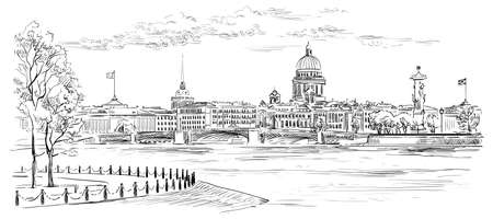 Cityscape of embankment and bridge across Neva river in St. Petersburg, Russia. View on Spit of Vasilievsky Island and Rostral columns. Isolated vector hand drawing illustration in black color on white background