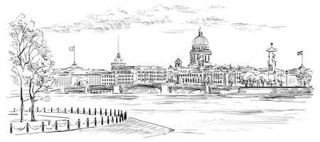 Paisaje urbano de terraplén y puente sobre el río Neva en San Petersburgo, Rusia. Ver en la lengua de la isla Vasilievsky y columnas rostrales. Ilustración de dibujo a mano alzada de vectores aislados en color negro sobre fondo blanco