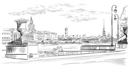 Cityscape of embankment  and bridge across Neva river in St. Petersburg, Russia. View on Spit of Vasilievsky Island and Rostral columns. Isolated vector hand drawing illustration in black color on white background Иллюстрация