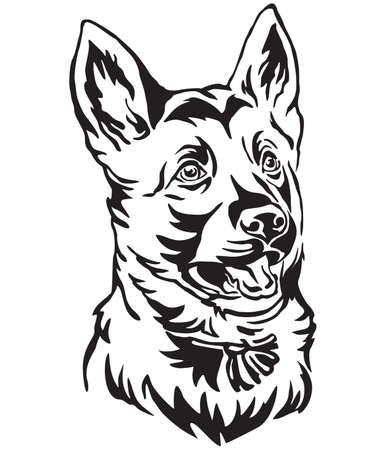 Dekoratives Umrissporträt des Welpen Deutscher Schäferhund, der im Profil schaut, Vektorillustration in der schwarzen Farbe lokalisiert auf weißem Hintergrund. Bild für Design und Tätowierung.