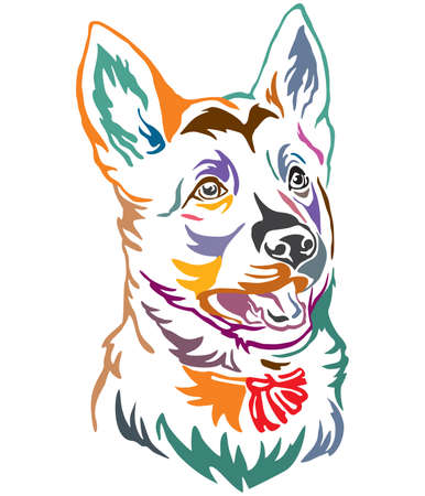 Colorful decorative outline portrait of puppy German Shepherd Dog looking in profile, vector illustration in different colors isolated on white background. Image for design and tattoo. Stock Illustratie