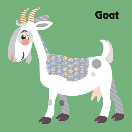 Colorful decorative outline funny white goat with horns standing in profile.  Farm animals and birds vector cartoon flat illustration in different colors isolated on green background. Ilustração