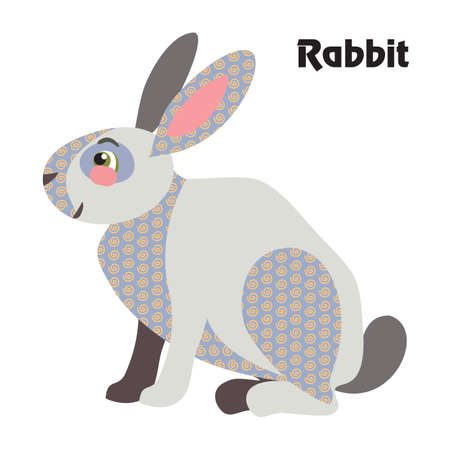 Colorful decorative outline cute rabbit grey color sitting in profile. Farm animals and birds vector cartoon flat illustration in different colors isolated on white background.