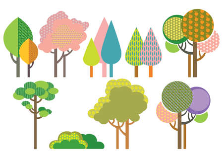 Colorful decorative outline funny trees with seamless pattern forms. Vector cartoon flat illustration in different colors isolated on white background.