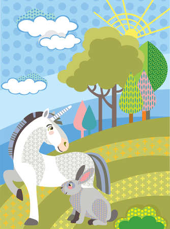 Colorful decorative cute unicorn and rabbit in meadow with trees. Vector cartoon flat illustration in different colors.