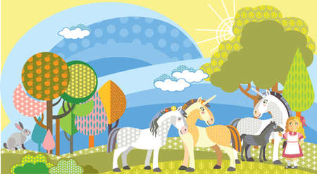 Colorful decorative cute unicornes, rabbit and girl in meadow with trees. Vector cartoon flat illustration in different colors.