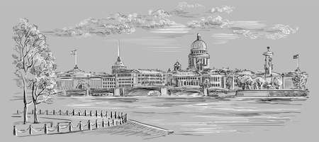 Cityscape of embankment  and bridge across Neva river in St. Petersburg, Russia. View on Spit of Vasilievsky Island and Rostral columns. Isolated vector hand drawing illustration in black and white colors on grey background.