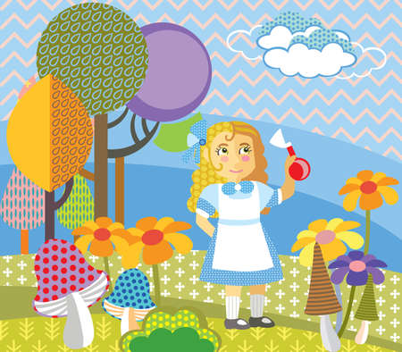 Colorful decorative vector image girl in blue dress standing in forest. Alice in Wonderland - Fictional Character, vector cartoon flat illustration in different colors with seamless pattern elements.