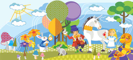 Alice in Wonderland. Colorful vector cartoon flat illustration with seamless pattern elements isolated on white background. Alice, Mad Hatter,White rabbit, Ð¡aterpillar and Unicorn in a magical forest with trees, flowers and mushrooms.
