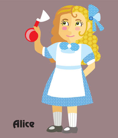Colorful decorative outline portrait of girl in blue dress with potion in her hand. Alice in Wonderland ,vector cartoon flat illustration in different colors with seamless pattern elements isolated on grey background. Ilustrace
