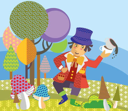 Colorful decorative vector image Mad Hatter with cup of tea dancing in forest. Alice in Wonderland - Fictional Character, vector cartoon flat illustration in different colors with seamless pattern elements. Illustration
