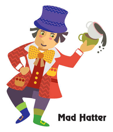 Colorful decorative outline portrait of  dancing Mad Hatter with cup of tea in his hand. Alice in Wonderland, vector cartoon flat illustration in different colors with seamless pattern elements isolated on white background. Ilustrace