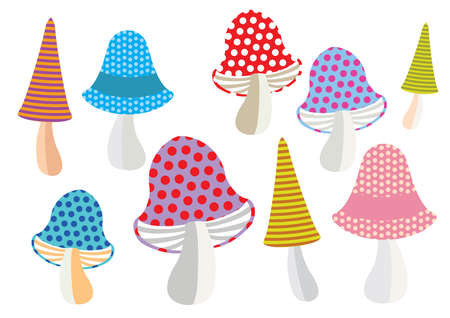 Colorful decorative outline funny mushrooms with seamless pattern forms. Vector cartoon flat illustration in different colors with seamless pattern elements isolated on white background.