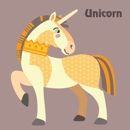 Colorful decorative outline standing in profile Unicorn with crown on his neck. Vector cartoon flat illustration in different colors with seamless pattern elements isolated on grey background. Ilustrace