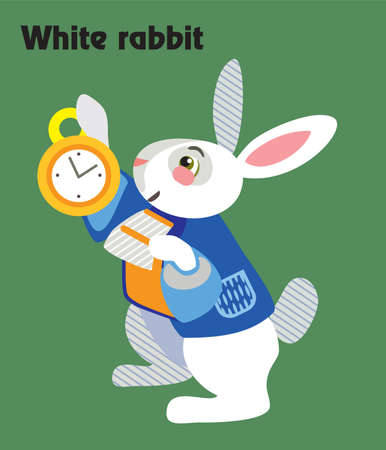 Colorful decorative outline portrait of White rabbit with golden clock in his hand. Alice in Wonderland, vector cartoon flat illustration in different colors with seamless pattern elements isolated on green background. Illustration