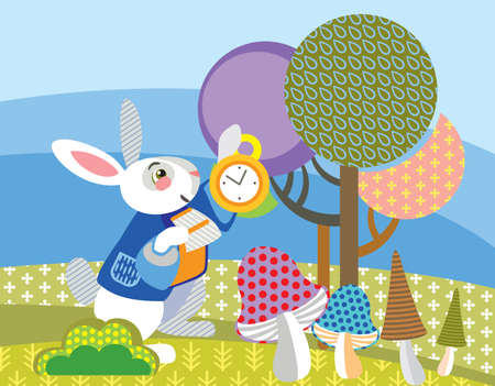 Colorful decorative vector image White rabbit with golden clock in forest. Alice in Wonderland - Fictional Character, vector cartoon flat illustration in different colors with seamless pattern elements.