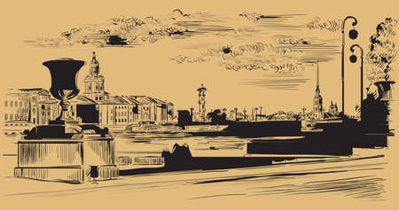 Cityscape of embankment  and bridge across Neva river in St. Petersburg, Russia. View on Spit of Vasilievsky Island and Rostral columns. Isolated vector hand drawing illustration in black color on brown background