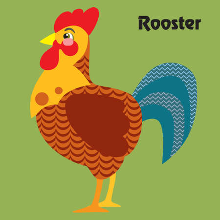 Colorful decorative outline funny colorful rooster standing in profile.  Farm animals and birds vector cartoon flat illustration in different colors isolated on green background.