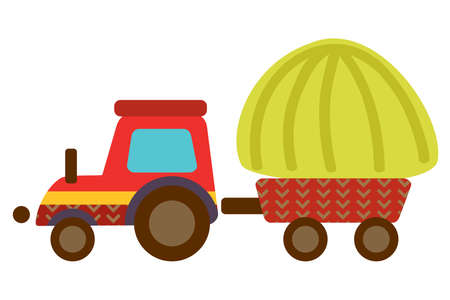 Colorful decorative outline funny red cartoon tractor with haystack standing in profile. Farm vector cartoon flat illustration in different colors isolated on white background.