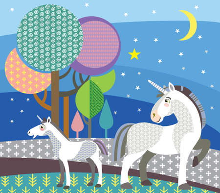 Colorful decorative outline cute unicorn and foal unicorn standing in profile on night forest. Vector cartoon flat illustration in different colors. Illustration