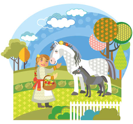 Colorful decorative outline cute girl and white horse with black foal standing in profile in garden. Farm vector cartoon flat illustration in different colors isolated on white background.