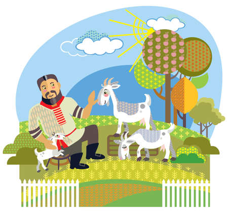 Colorful decorative outline cute farmer and white goats standing in profile in garden. Farm vector cartoon flat illustration in different colors isolated on white background.