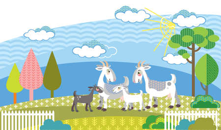 Colorful decorative outline cute family goats standing in profile in garden. Farm vector cartoon flat illustration in different colors isolated on white background. Ilustração