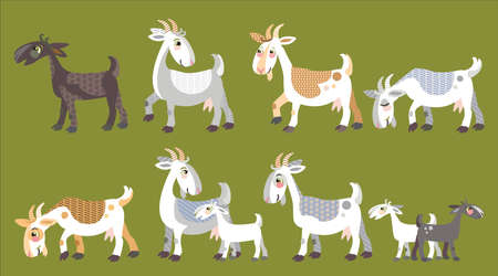 Colorful decorative outline funny goats and kid goats standing in profile.  Farm animals and birds vector cartoon flat illustration in different colors isolated on green background.