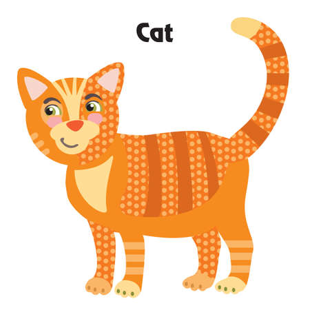 Colorful decorative outline cute ginger cat standing in profile. Farm animals and birds vector cartoon flat illustration in different colors isolated on white background.  Ilustração
