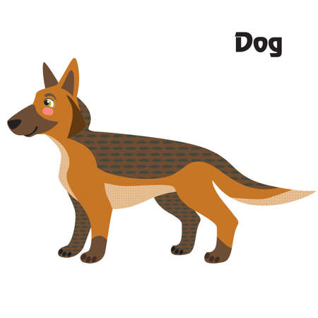 Colorful decorative outline cute dog, german shepherd, standing in profile. Farm animals and birds vector cartoon flat illustration in different colors isolated on white background.