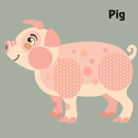 Colorful decorative outline cute pink pig standing in profile. Farm animals and birds vector cartoon flat illustration in different colors isolated on grey background.