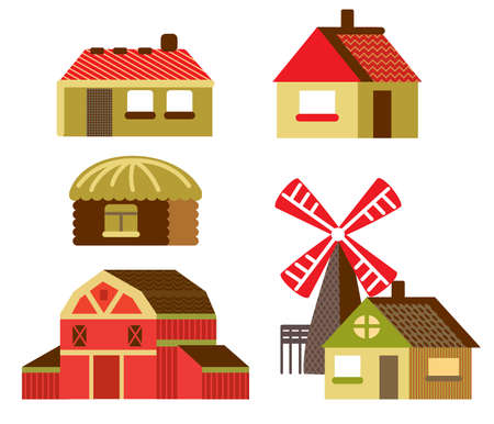 Colorful decorative set of outline red cartoon Barn, mill and country houses. Farm vector cartoon flat illustration in different colors isolated on white background.  Ilustração