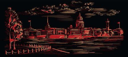 Cityscape of embankment  and bridge across Neva river in St. Petersburg, Russia. View on Spit of Vasilievsky Island and Rostral columns. Isolated vector hand drawing illustration in red color on black background