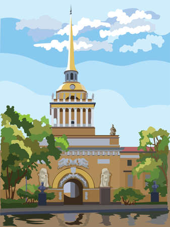 Cityscape of Admiralty building, Saint Petersburg, Russia. Front view of old Admiralty building from Garden.  Colorful vector illustration.