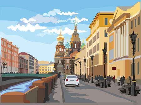 Cityscape of Church of the Savior on Blood in Saint Petersburg, Russia and embankment of river. Colorful vector  illustration. 向量圖像