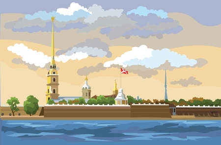 Cityscape of The Peter and Paul Fortress in Saint Petersburg, Russia and embankment of river. Colorful vector  illustration.
