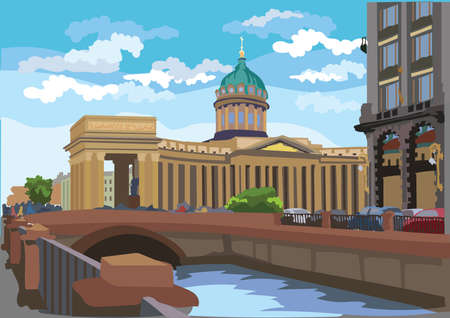 Cityscape of Kazan Cathedral in St. Petersburg, Russia and embankment of river. Colorful vector illustration.