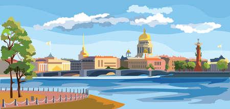 Paisaje urbano de terraplén y puente sobre el río Neva en San Petersburgo, Rusia. Ver en la lengua de la isla Vasilievsky y columnas rostrales. Ilustración de vector colorido.