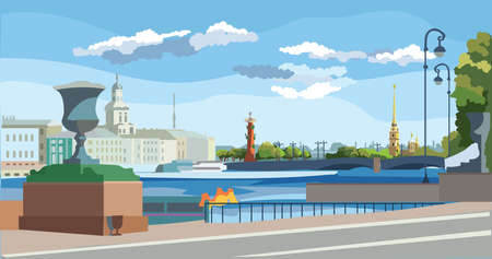 Cityscape of embankment  and bridge across Neva river in St. Petersburg, Russia. View on Spit of Vasilievsky Island and Rostral columns. Colorful vector illustration.