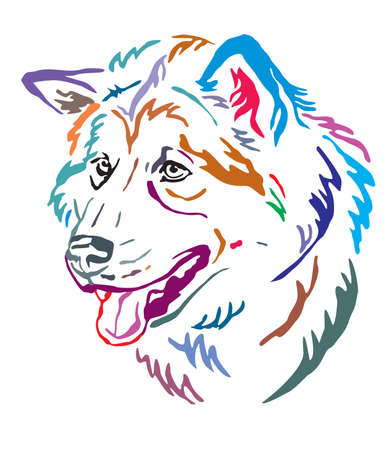 Colorful decorative outline portrait of Alaskan Malamute Dog looking in profile, vector illustration in different colors isolated on white background. Image for design and tattoo.