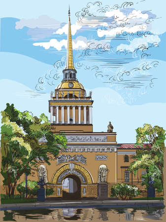 Cityscape of Admiralty building, Saint Petersburg, Russia. Front view of old Admiralty building from Garden.  Colorful vector hand drawing illustration.