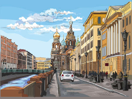 Cityscape of Church of the Savior on Blood in Saint Petersburg, Russia and embankment of river. Colorful vector hand drawing illustration. Иллюстрация